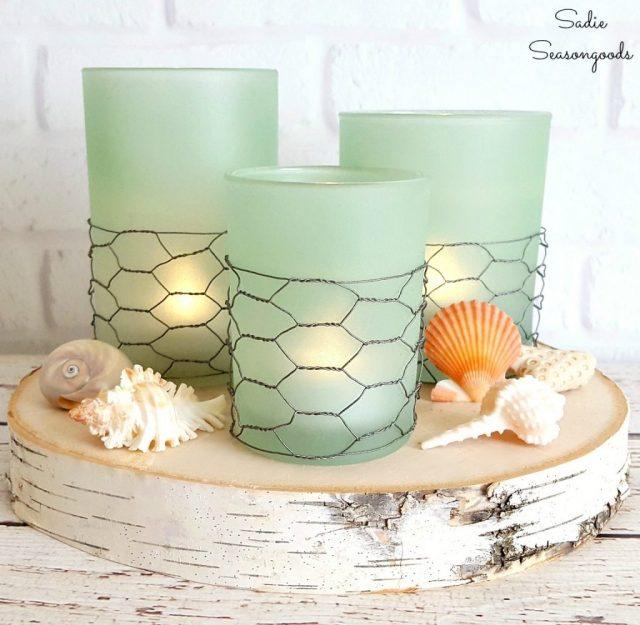 DIY Coastal Farmhouse Seaglass Candle