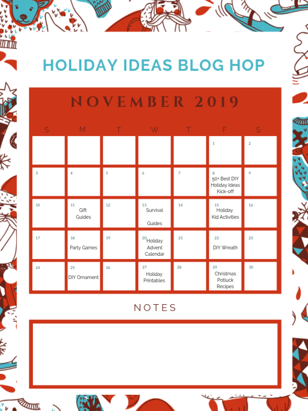 November Holiday Ideas Blog Hop Calendar