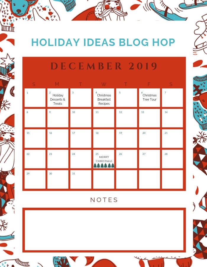 December Holiday Ideas Blog Hop Calendar