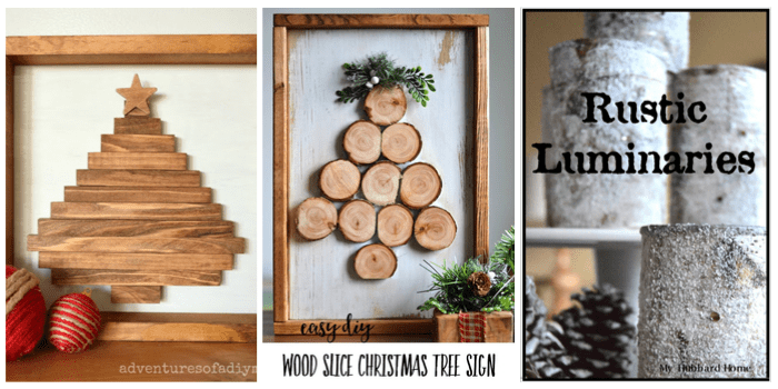 Best DIY Holiday Ideas Crafts - Wood Christmas Tree Signs and rustic luminaries