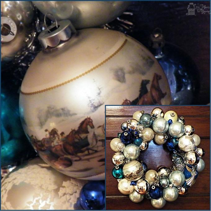Blue ornament wreath