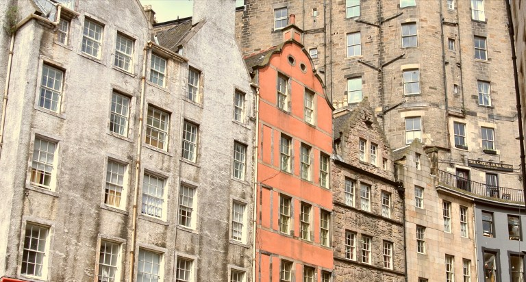A close up of the buildings on Victoria Street.