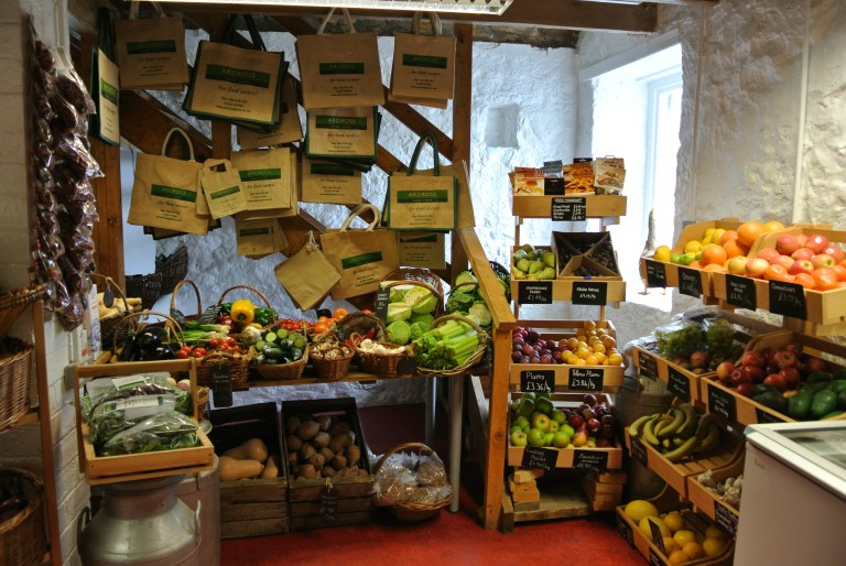 Bins of fruits and vegetables at Ardross Farm Shop.