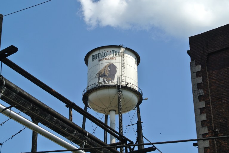 A water tower that says Buffalo Trace Distillery.
