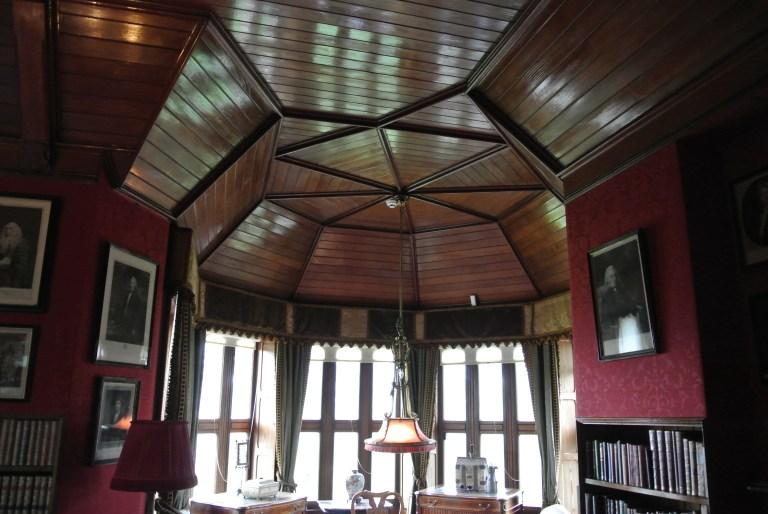 A decorative wood ceiling.