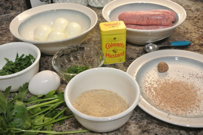 Ingredients to make Scotch Eggs.