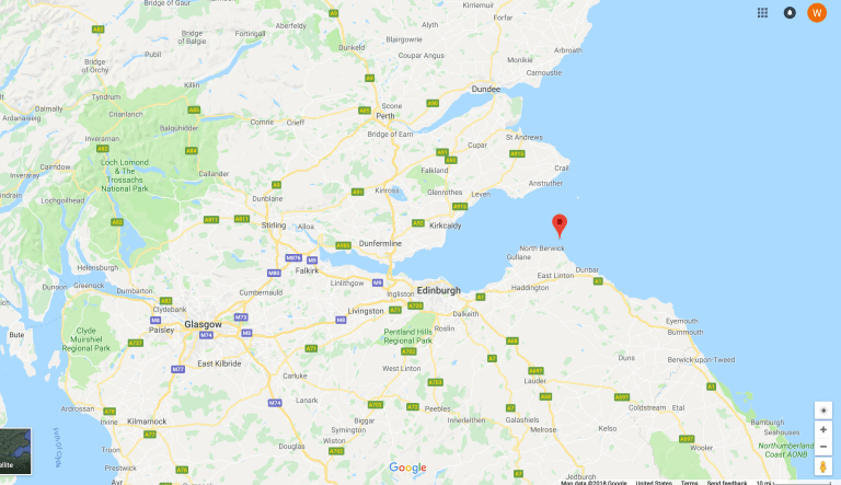 A Google Maps image of the Firth of Forth off Scotland's coast.