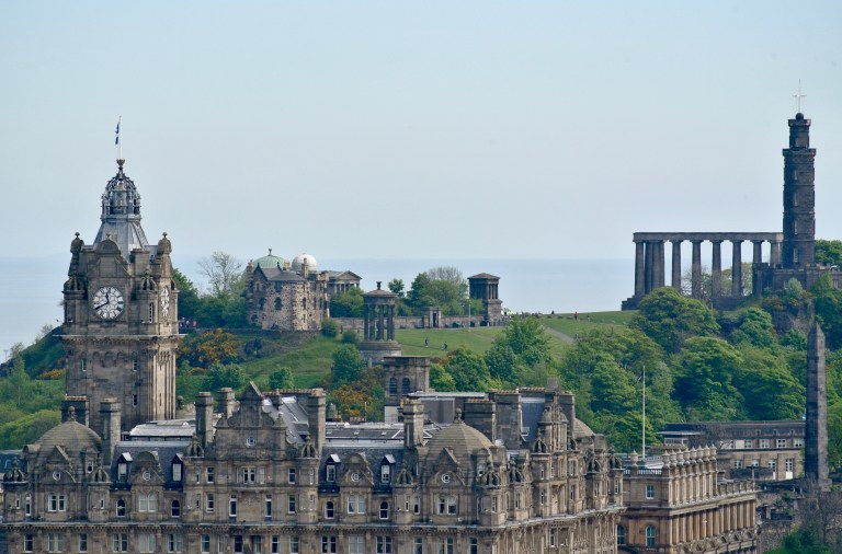 Looking over Edinburgh, Scotland and toward Calton Hill.