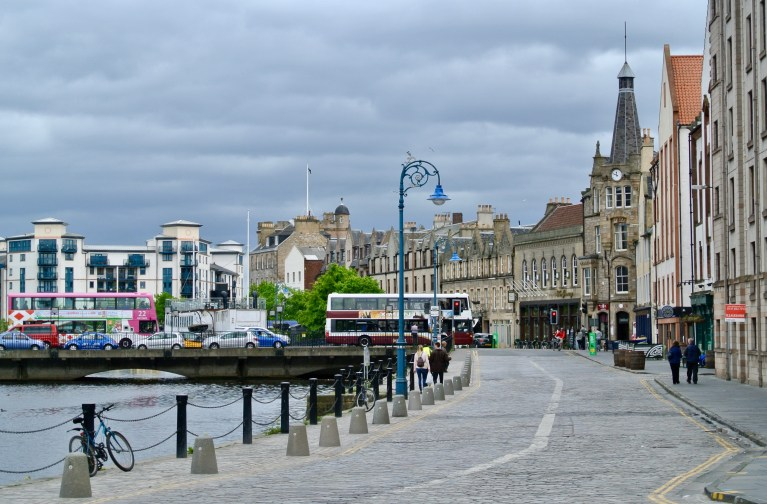 A busy city street in Leith, Scotland.