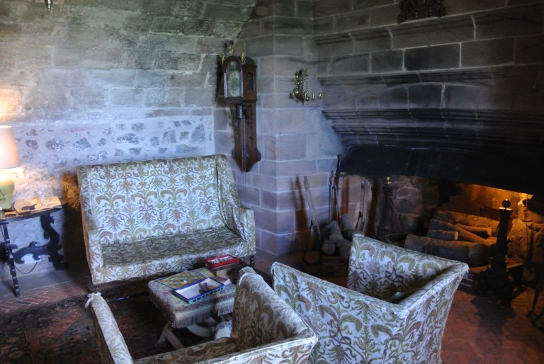 Sitting room and fireplace at Lindisfarne Castle.