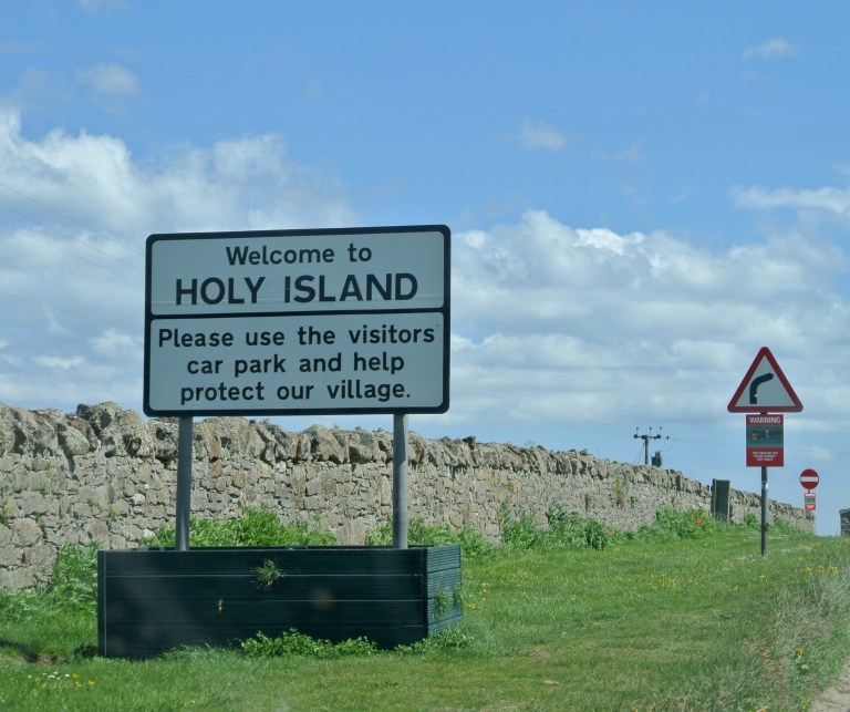 Welcome sign to Holy Island.