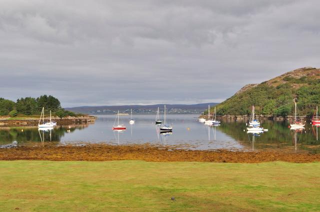 Bay with sailboats at Shieldaig Lodge in Scotland.