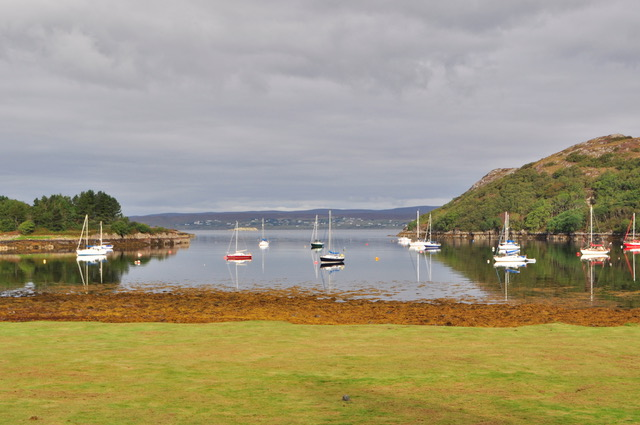 Bay with sailboats at Shieldaig Lodge in Scotland.