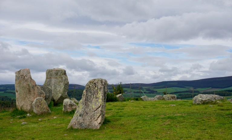 Standing stones at Tomnaverie Stone Circle.