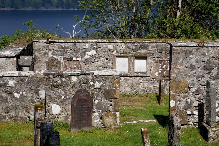 Medieval church ruin on the property of Boleskine Cemetery.