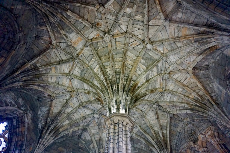 Intricate stone ceiling at Elgin Cathedral.