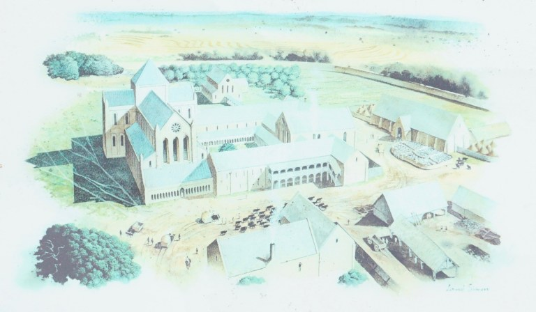 An artist's rendering of how Kinloss Abbey may have looked.