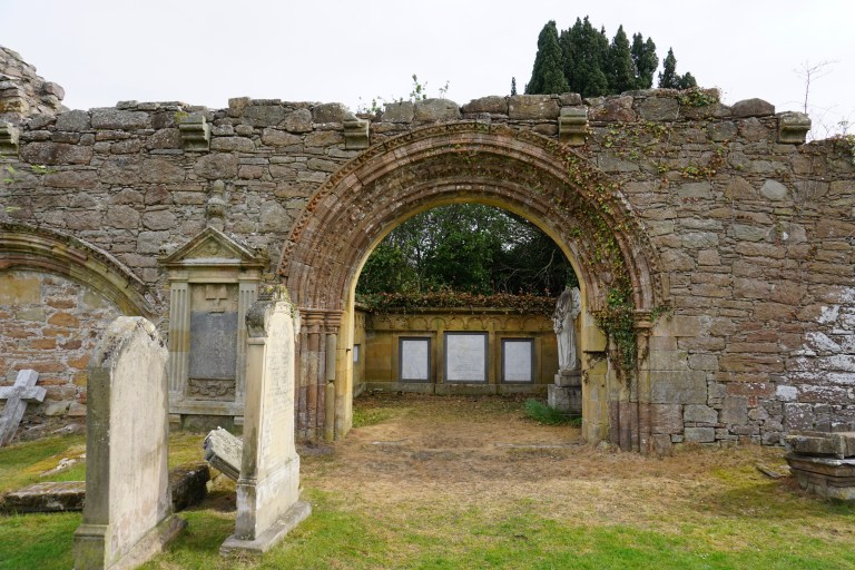 An intact doorway arch at Kinloss Abbey.