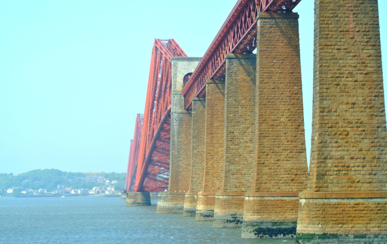 Massive columns of the Forth Bridge.