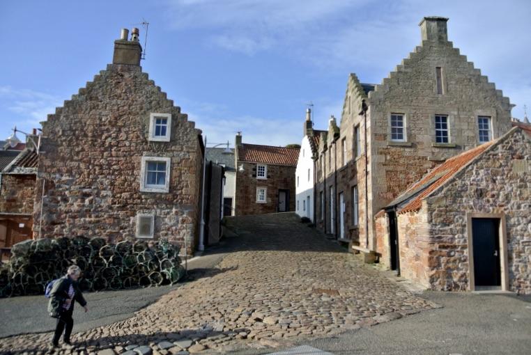 A cobbled road in Crail, Scotland.