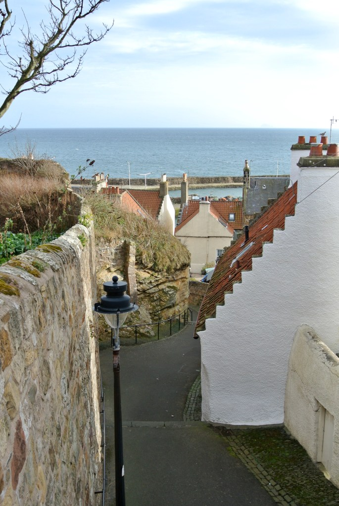 A narrow street in Pittenweem, Scotland.