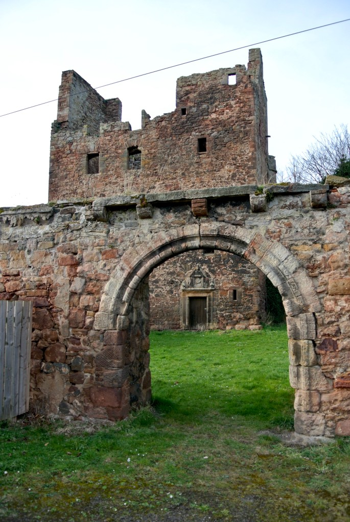 Redhouse Castle and part of the courtyard wall.