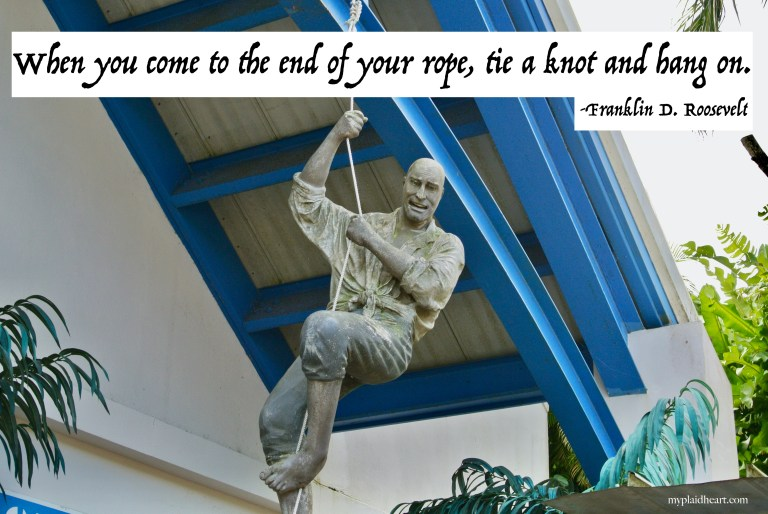 When you come to the end of your rope, tie a knot and hang on - words of encouragement from Franklin D. Roosevelt.