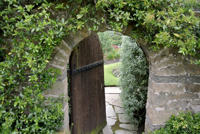 An arched door into what looks like an enchanted garden.