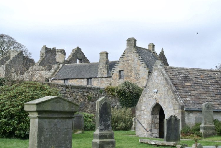 Aberdour Castle and neighboring churchyard.
