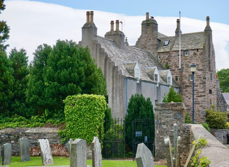 Fordyce Castle and Fordyce Kirkyard in Scotland.