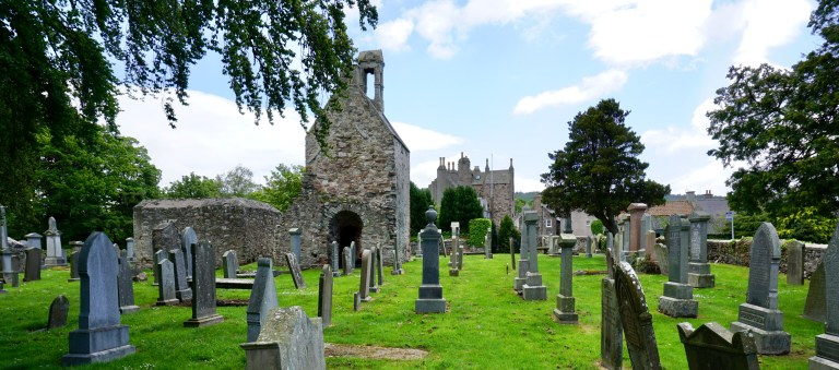 Church ruins and gravestones at St. Talorgan's.