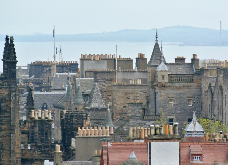 Roof tops and spires in Edinburgh, Scotland.