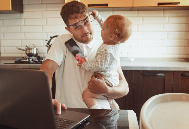 Man trying to work at home
