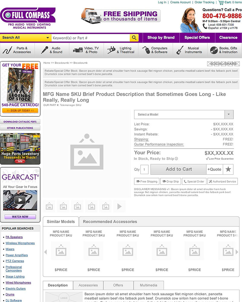 Full Compass Product Page Wireframe 1