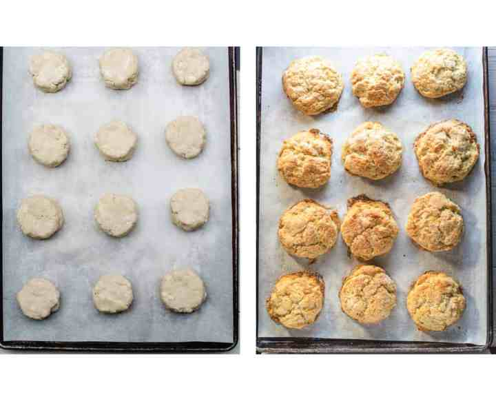 scones shaped before and after baking