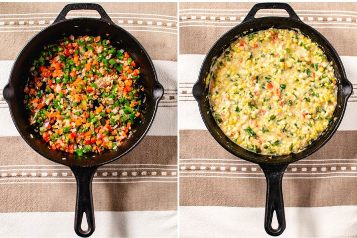 2 photos of cast iron pan with sauteed vegetables and the finished cream corn.