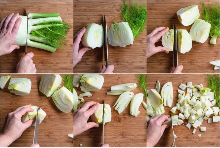 6 images showing how to cut and core a fennel bulb