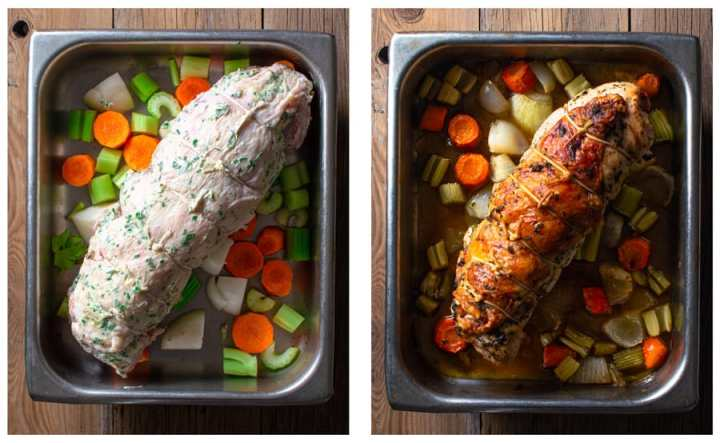 before and after roasting of stuffed turkey breast