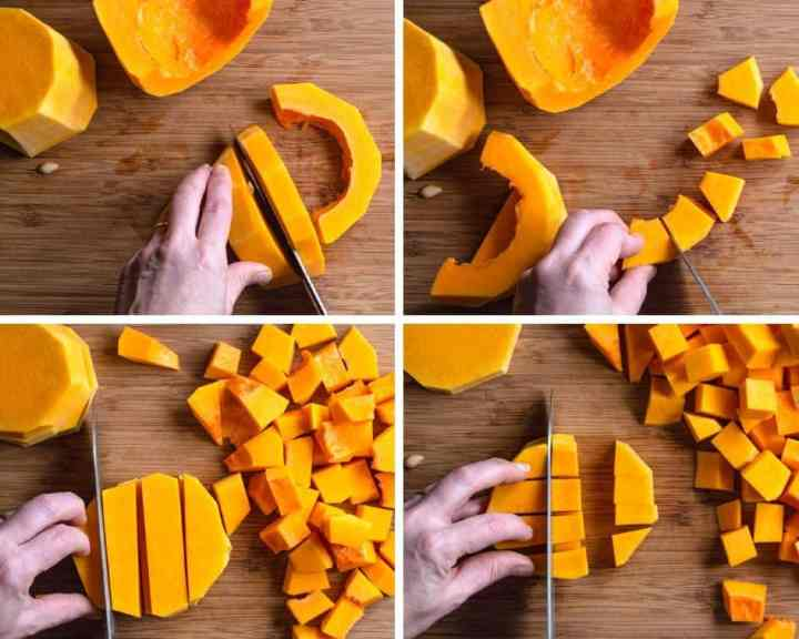 a series of 4 images showing how to dice a butternut squash