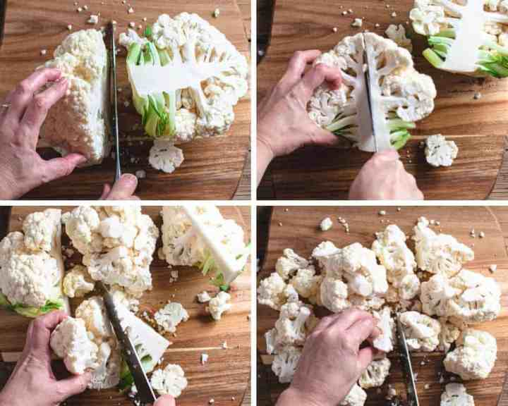 photo collage showing how to cut up a head of cauliflower