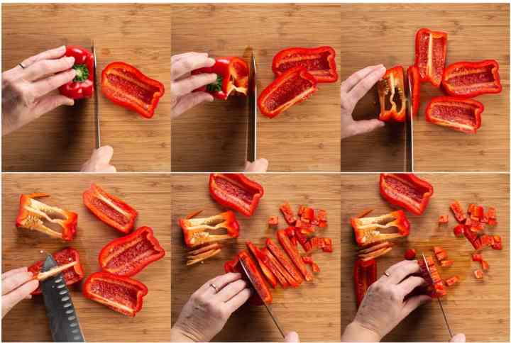 6 steps showing how to core and chop a bell pepper