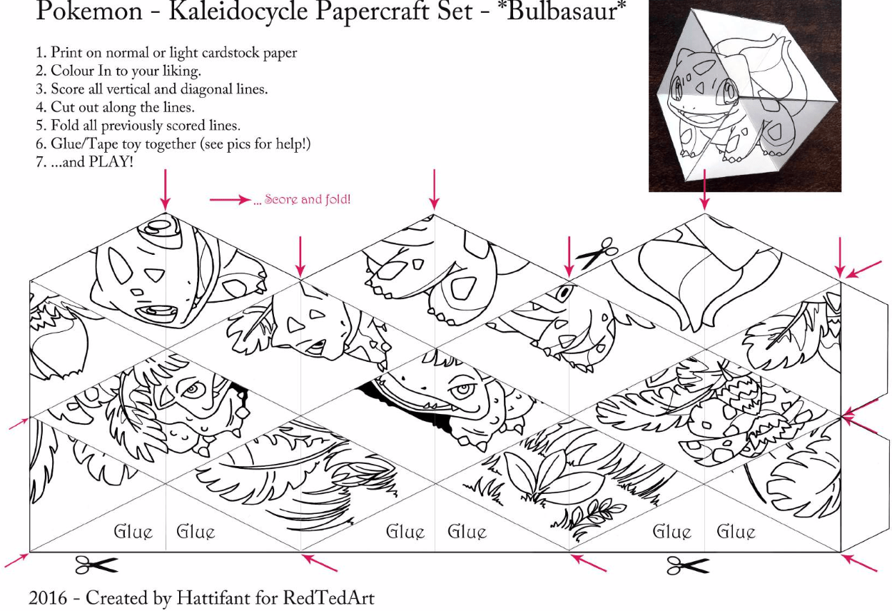 Make A Pokemon Kaleidocycle Folding Paper