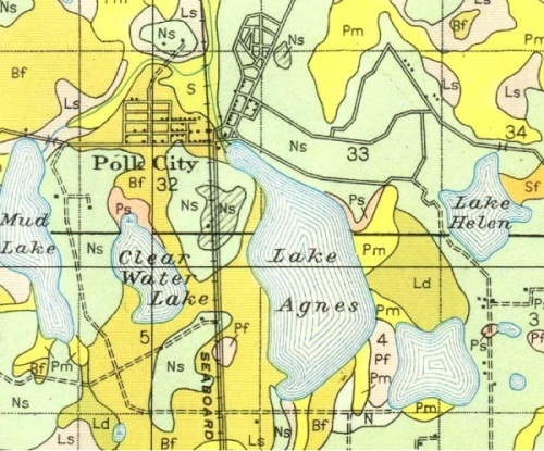 Road Map - Polk City, Florida - 1927