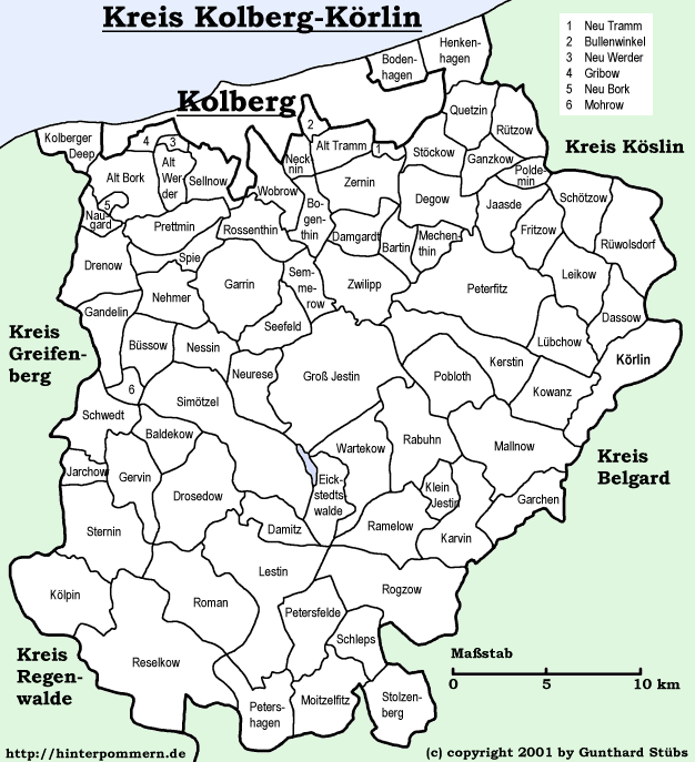 Pommern Germany Map.Kolberg Korlin Cities And Villages Online My Pomerania German