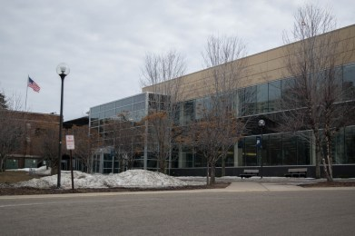 Outside the library and technology center