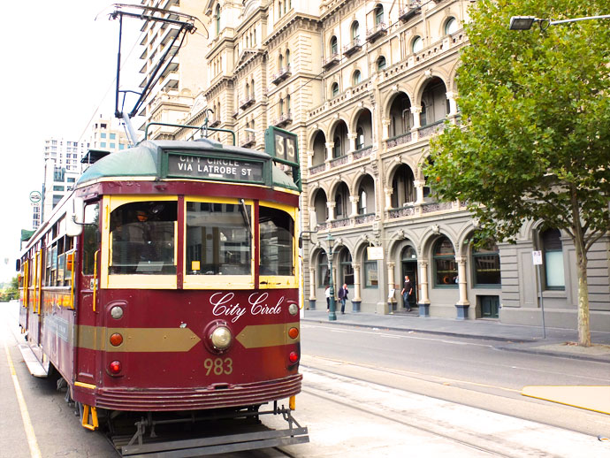 Melbourne trams are free to ride - City Circle free things to do in Melbourne