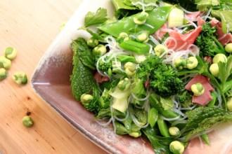 Smoked beef, wasabi pea and healthy greens salad
