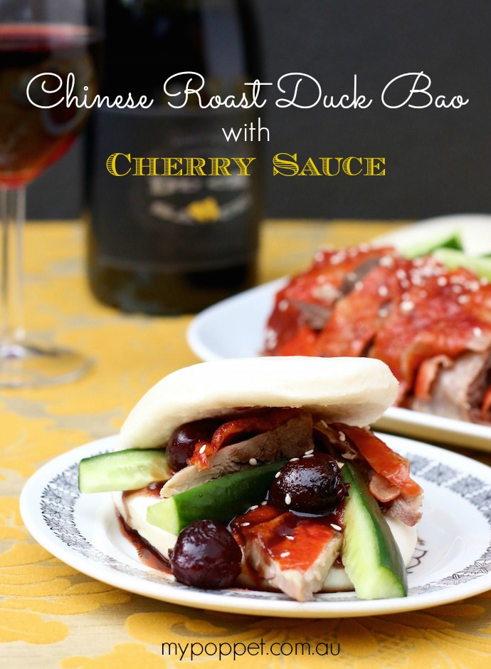 Chinese Roast Duck Bao with Cherry Sauce