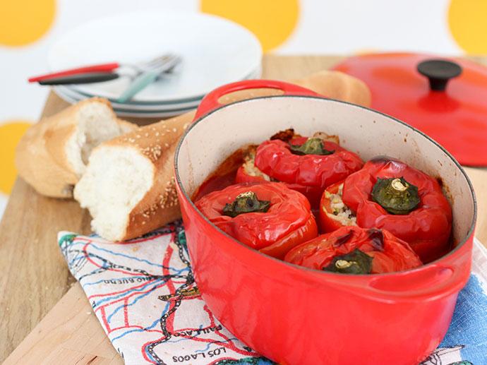 Rice, meat and zucchini stuffed capsicum recipe