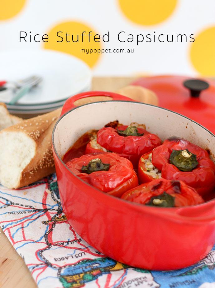 Rice, meat and zucchini stuffed capsicum recipe mypoppet.com.au
